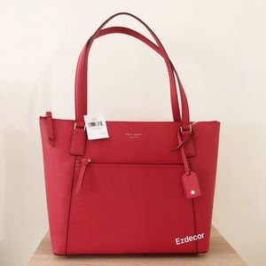 NWT Kate Spade Cameron Pocket Leather Tote Red